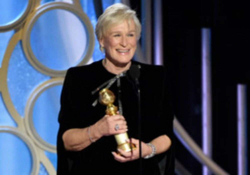 Glenn Close accepts her Golden Globe award
