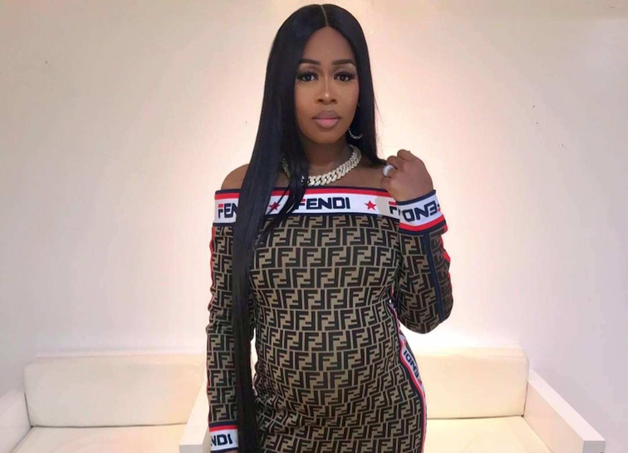 """remy-ma-shows-off-her-snap-back-game-in-new-picture-wearing-killer-bodysuit-after-welcoming-golden-child-with-husband-papoose-critics-see-a-makeup-fail"""