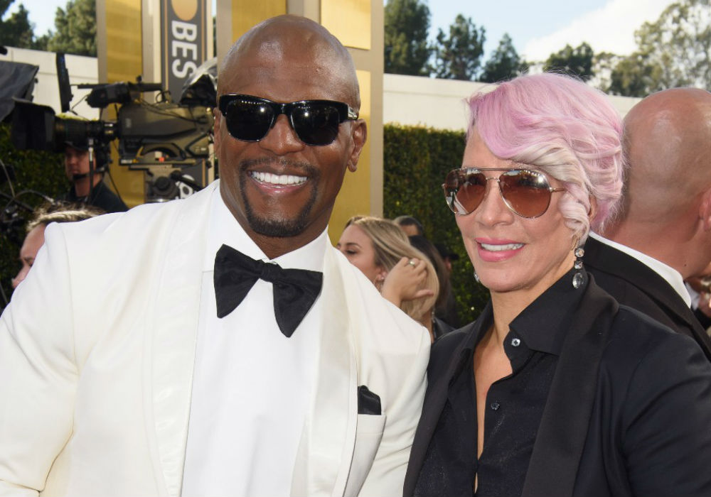 Terry Crews and wife attend the Golden Globes