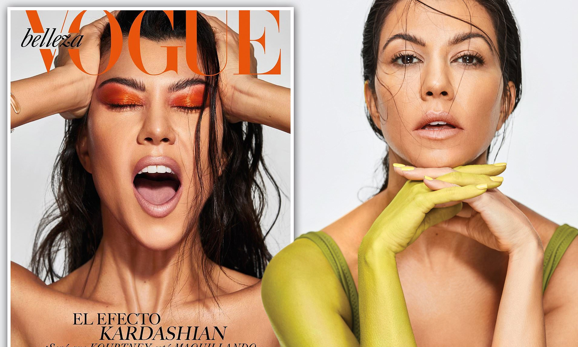 Kourtney Kardashian Graces The Cover Of Vogue Mexico And Wears Nothing But A Neon Eyeshadow