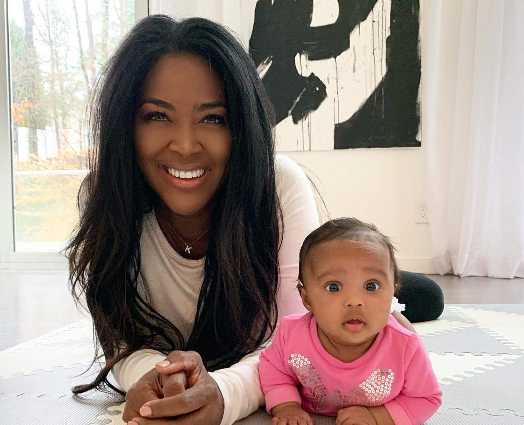 Kris Jenner, Watch Out! Kenya Moore Is Already Teaching Her Baby Girl, Brooklyn How To Be A Boss - The Miracle Baby Seems To Love It By The Way She's Showing Off Her 'Millionaire Smile'