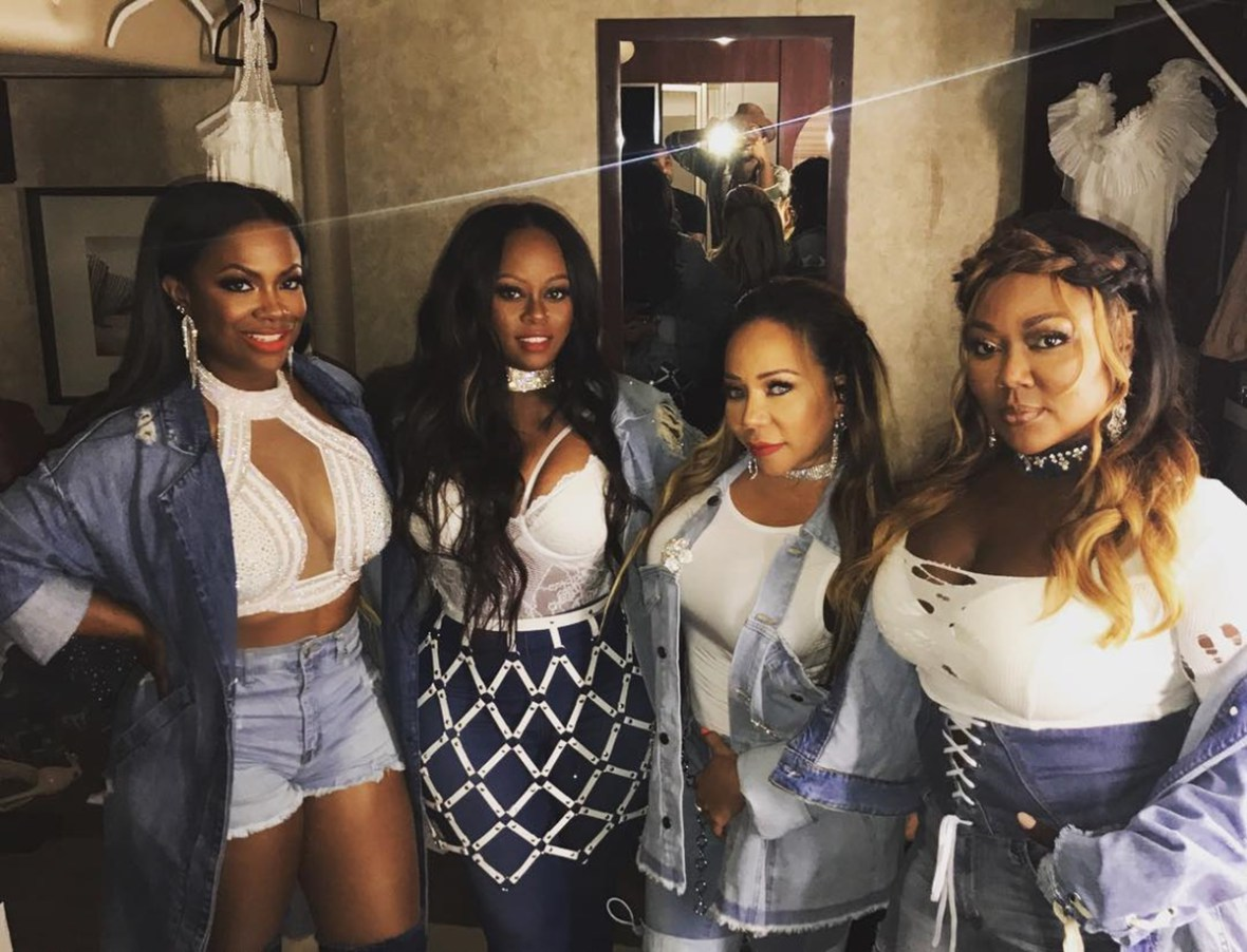Kandi Burruss Shares The Dopest Throwback Pic With Tiny Harris, Tamika Scott And LaTocha, Practicing In Mama Joyce's Basement: 'You Were All Thugged Out'