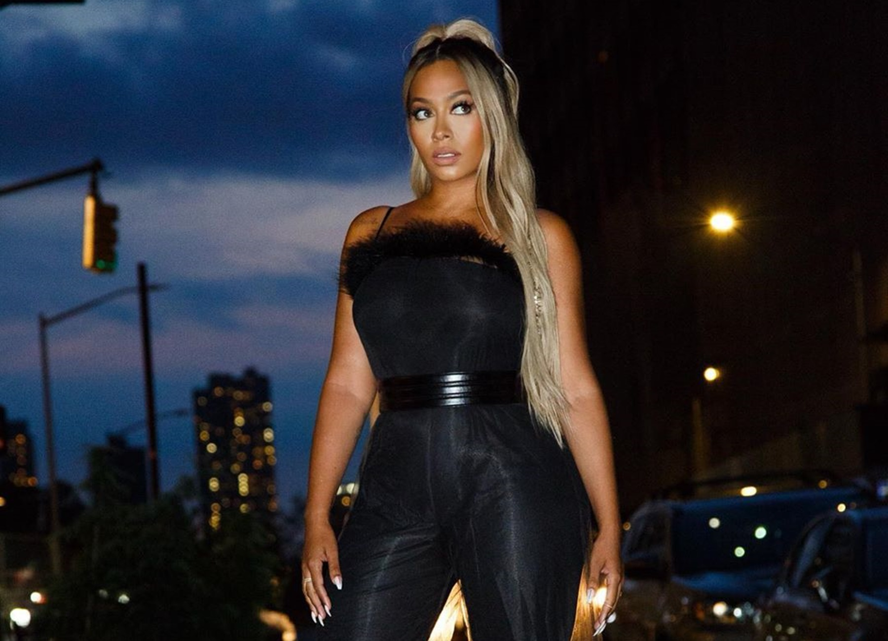 La La Anthony Looks Stunning In Sheer Black Outfit