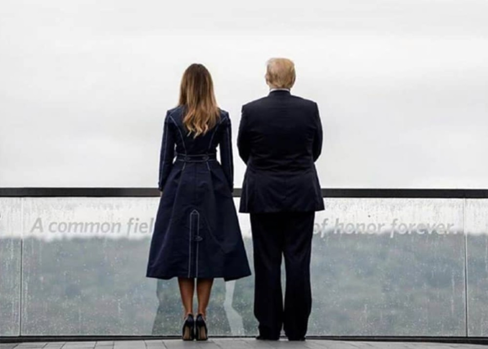 """""""melania-trump-wears-coat-dress-with-stitching-that-resembles-twin-towers-and-plane-moment-of-impact-at-911-memorial-and-internet-is-furious"""""""
