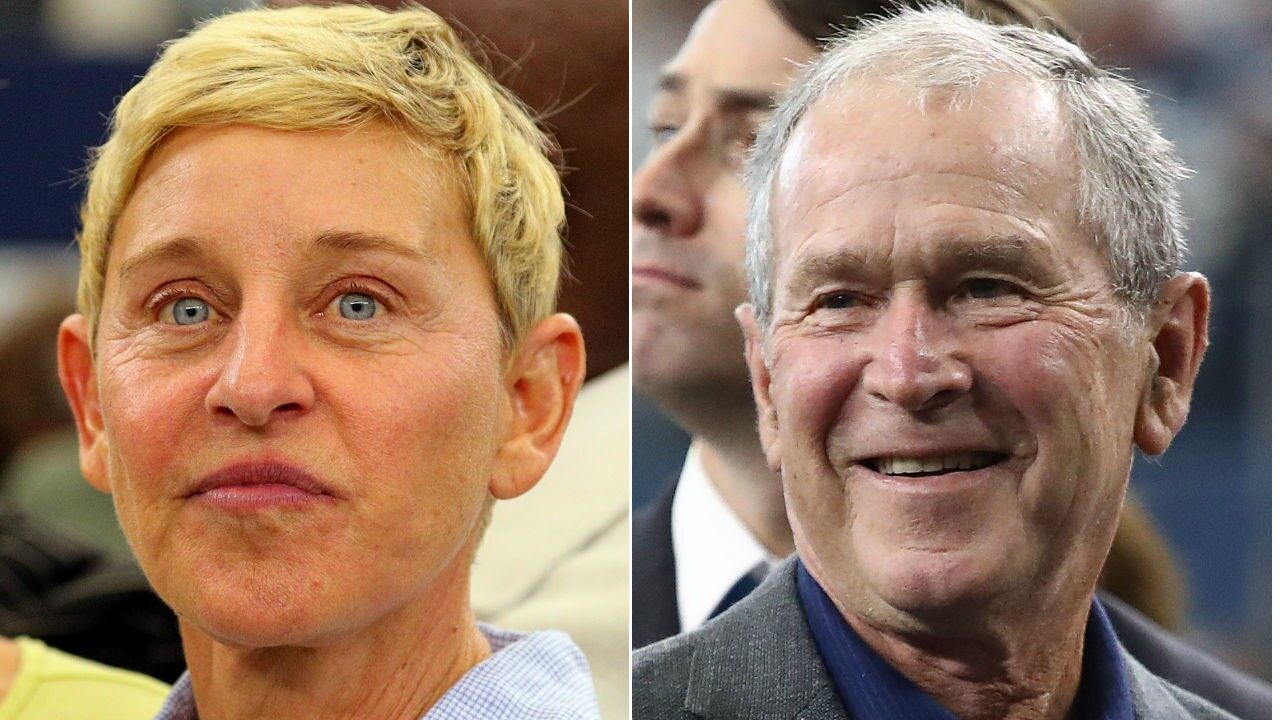 """ellen-degeneres-opens-up-about-the-backlash-she-got-over-that-viral-pic-of-her-and-george-w-bush-being-friendly-at-an-nfl-game"""