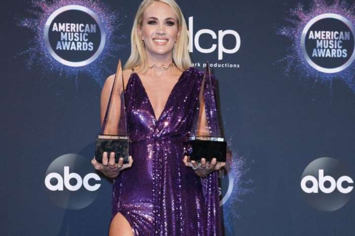 Carrie Underwood Wears Royal Purple Stello Gown To American Music Awards But Her Leg Is The Real Winner