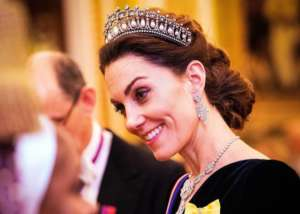 Kate Middleton Wears Princess Diana's Lover's Knot Tiara With Alexander McQueen Velvet Dress