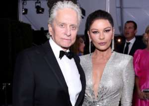 Catherine Zeta-Jones Stuns In Julien Macdonald With Lorraine Schwartz Earrings