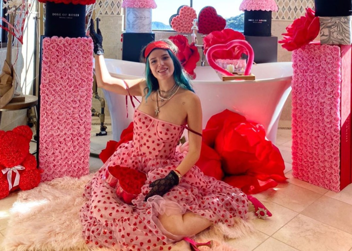 """""""bella-thorne-is-gorgeous-in-lirika-matoshis-hearty-dress-as-benjamin-mascolo-cant-give-her-enough-valentines-day-roses"""""""