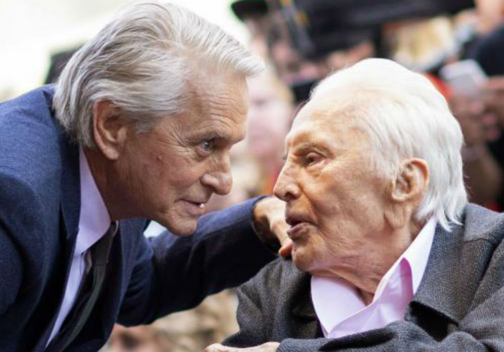 """michael-douglas-claims-some-of-his-father-kirks-last-words-were-support-for-presidential-candidate-mike-bloomberg"""