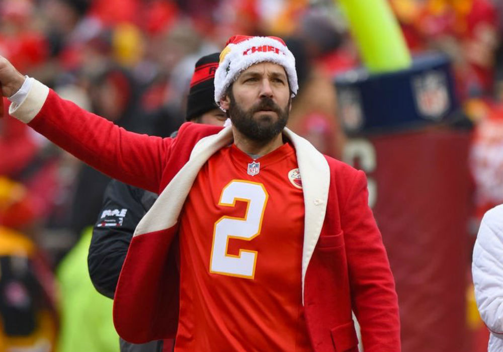 Paul Rudd Celebrates Kansas City Chiefs Super Bowl Win On The Field With Look-A-Like Son Jack