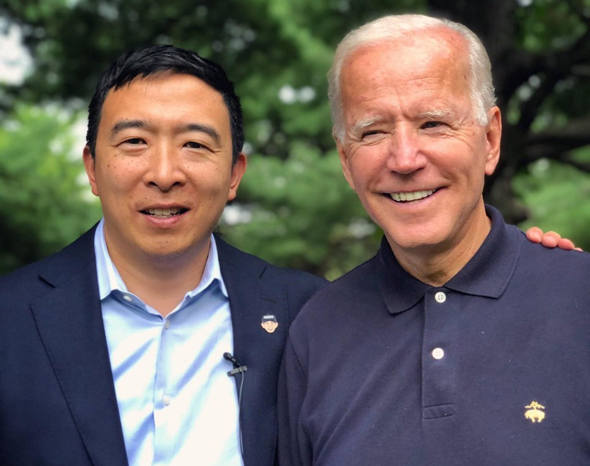 Andrew Yang Joe Biden Bernie Sanders