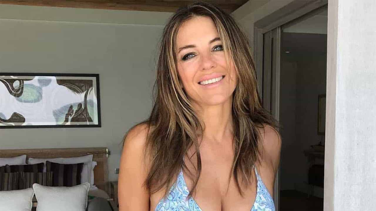 """elizabeth-hurley-poses-in-hot-mini-dress-after-washing-her-hair-for-the-first-time-in-2-weeks-amid-the-quarantine-so-relatable"""