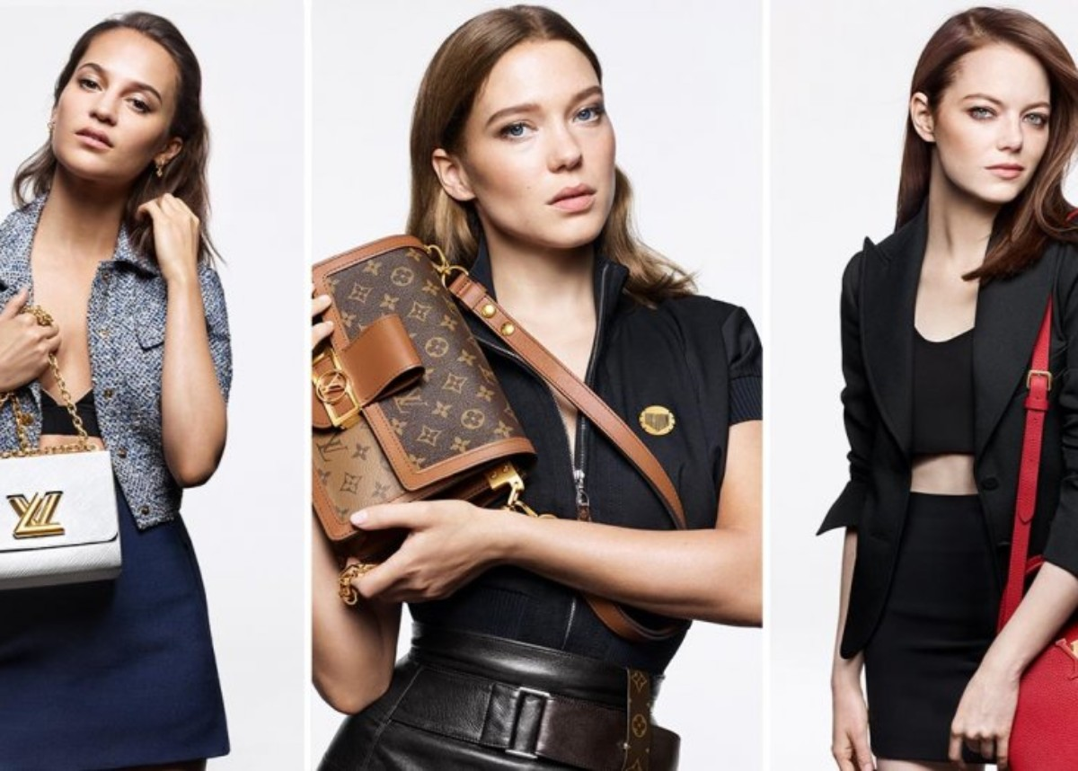 """emma-stone-alicia-vikander-and-lea-seydoux-model-louis-vuitton-handbags"""