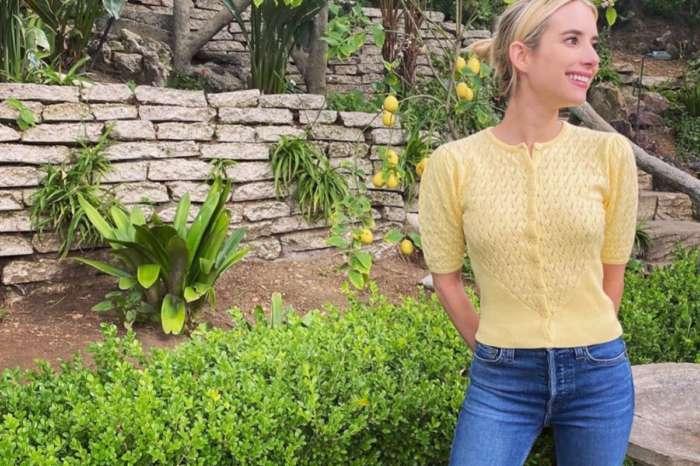 Emma Roberts  Fashionably Self Isolates In Happy Yellow Musier Paris Cardigan