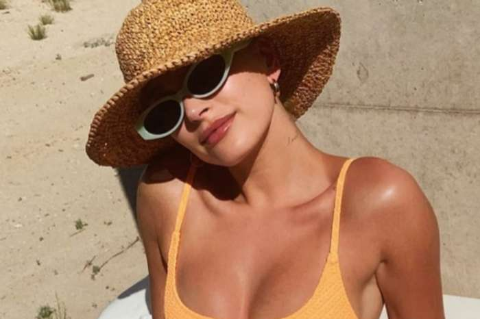 Hailey Baldwin Bieber Wears Triangl Maci Two-Piece Bathing Suit With Anita Ko Meryl Gold Hoops
