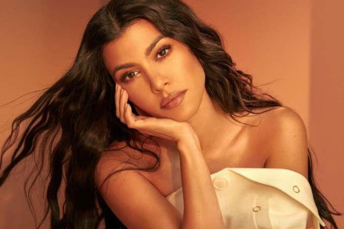 Kourtney Kardashian Flaunts Insane Curves In Gold Oseree Two Piece Bathing Suit