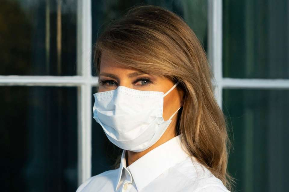 Melania Trump Wears A Face Mask And Pushes The Face Covering To Fight Coronavirus Pandemic
