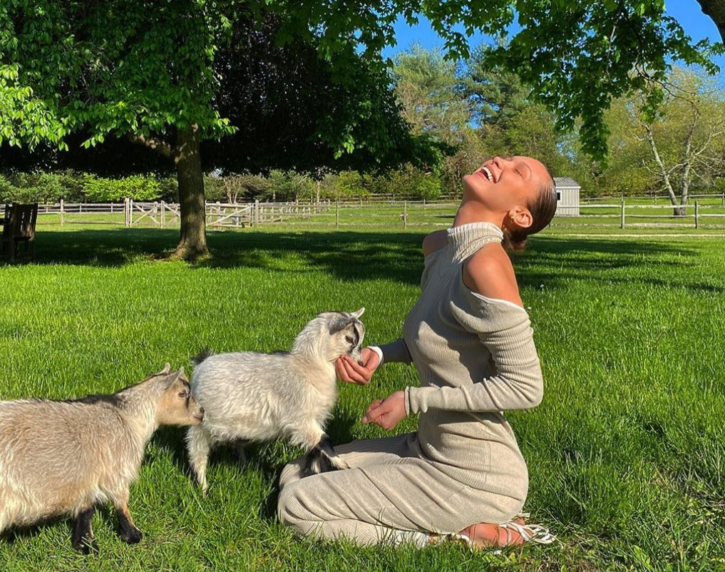 bella-hadid-wears-2890-dress-in-adorable-cuddle-session-with-baby-goats