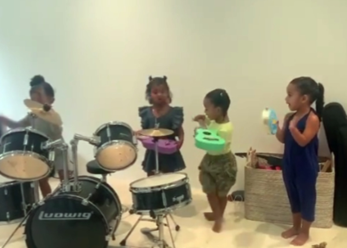 """stormi-webster-is-a-natural-drummer-as-she-and-dream-kardashian-chicago-west-and-true-thompson-play-in-a-band-and-sing"""