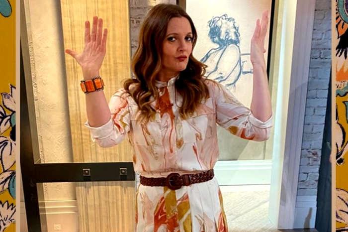 Drew Barrymore Wears Handpainted Geode-Print Skirt And Blouse — See The Look